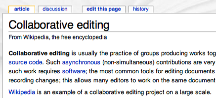 Wikimedia allows collaborative editing of content on sites built with the software.