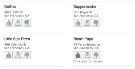 Thumbs up and down ratings for restaurants on GoodRec let people quickly register their opinion with little effort