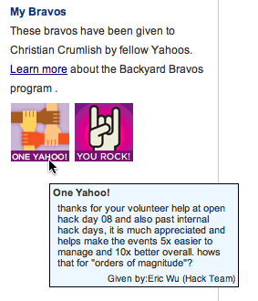 Reputation labels on the intranet at Yahoo!.