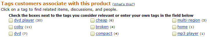 amazon.com tag interface