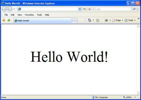 "A screen grab of a web browser showing the words ""Hello World!"""