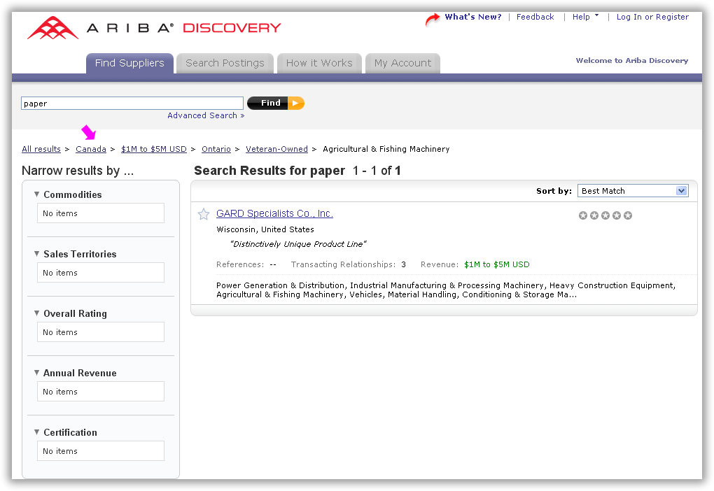 Attribute-Path breadcrumb in the Ariba Discovery Network UI