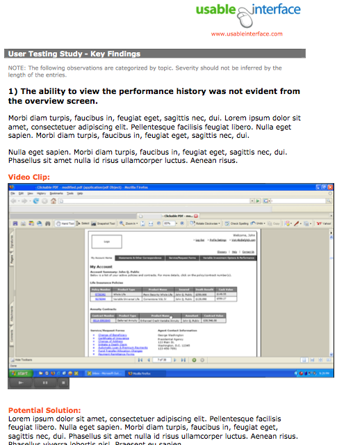 Screenshot of user testing report pdf.