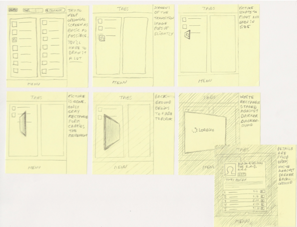 Figure 4: Storyboarding iPad Transitions Using Post-it Notes