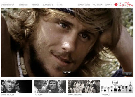 Bjorn Borg clothing store tells 'heritage' stories as video montages and invites visitor stories too