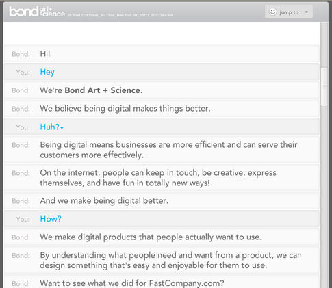 The site reveals its functionality through a conversation, which tells the story of the firm