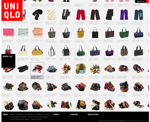 On Uniqlo.com many clickable elements are indicated with an audio cue, with another sound to indicate when you have clicked and when a successful action is complete