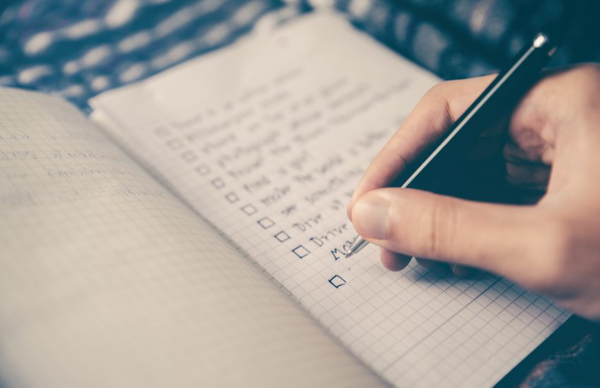 notepad with a checklist