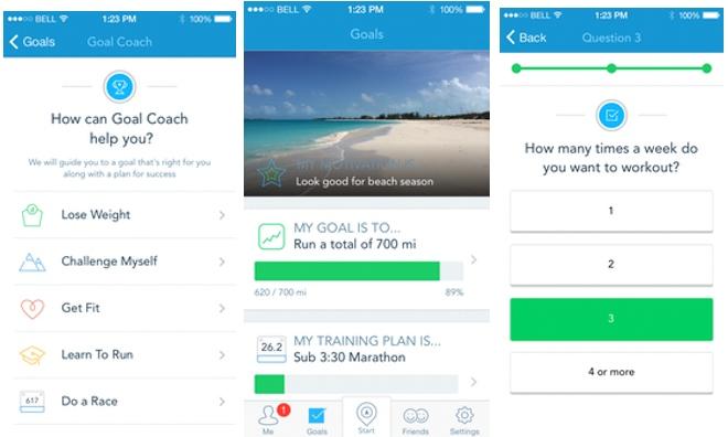 Images of RunKeeper app Goal Coach screens
