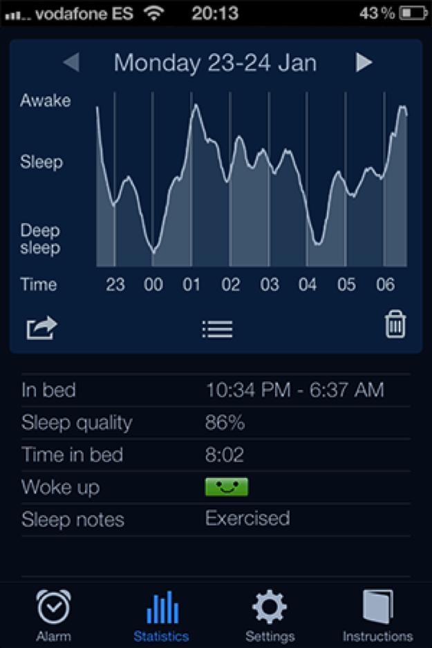 Screenshot of Sleep Cycle app