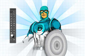 A superhero, partially wireframed and partially illustrated.