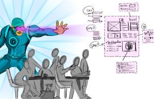 A superhero guides a meeting.
