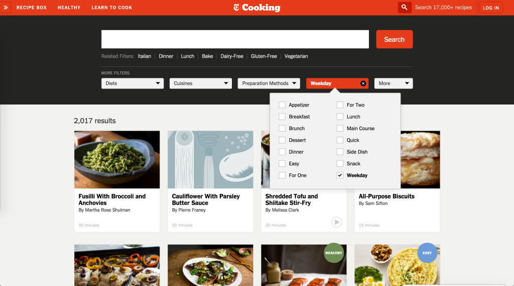 New York TImes Cooking Advanced Search options