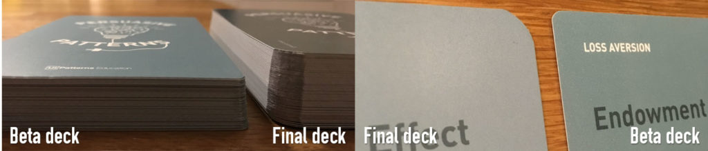Detail photo showing differences between beta and final cards.