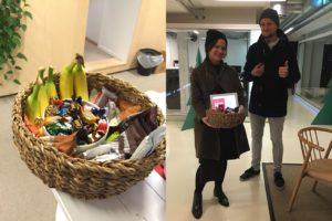 Photo collage showing a basket full of treats on the left and two researchers holding the basket on the right.