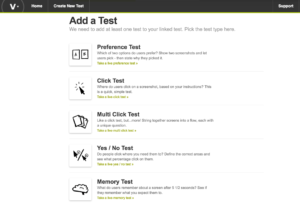 Screen grab of test options offered by Verify.