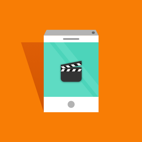 Illustration of a mobile phone showing a movie slateboard clapper.