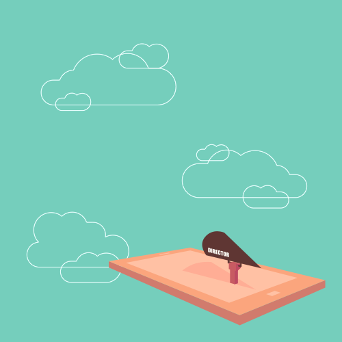Illustration of a mobile phone as a magic carpet, floating in the clouds.