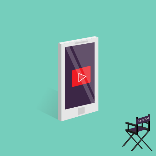 Illustration of a director's chair positioned to view a movie shown on a mobile phone.