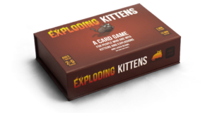 Photograph of the box for the Exploding Kittens card game.