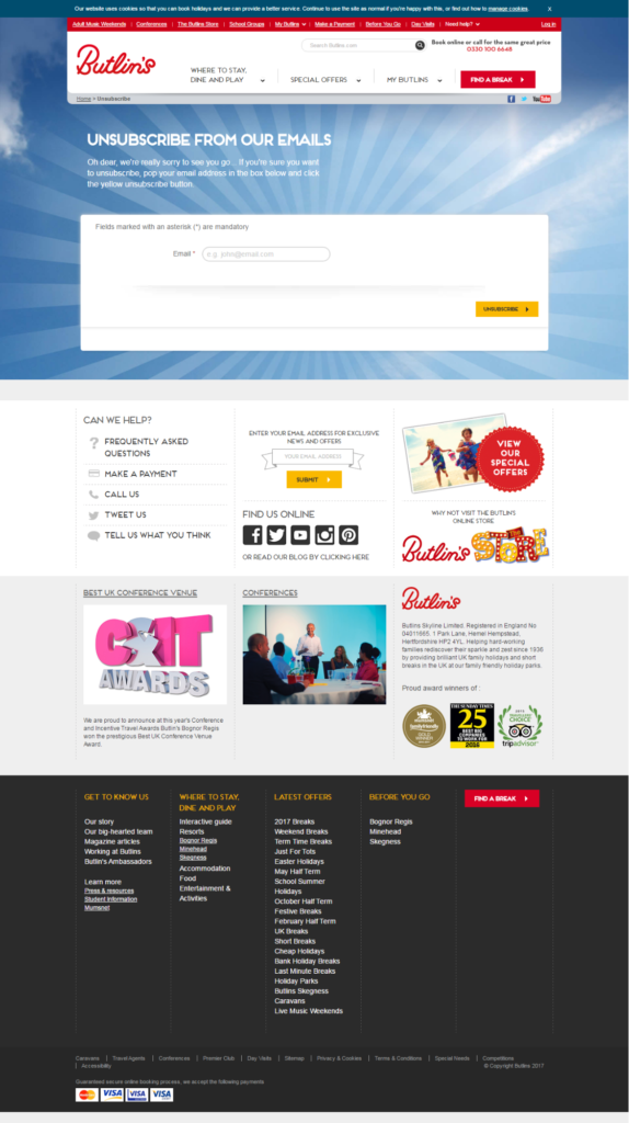 Butlins' unsubscribe screen