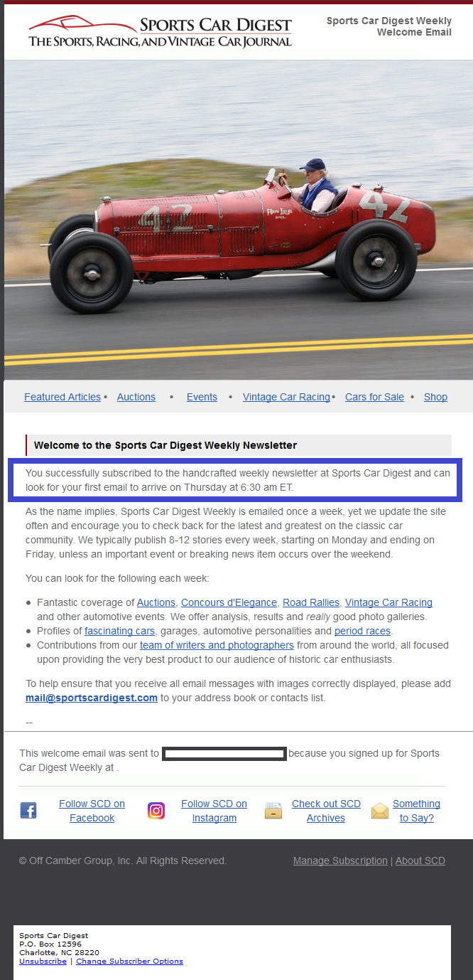 Sports Car Digest sets expectations for email delivery