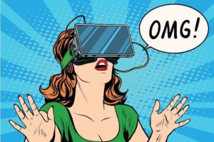 "A cartoon image of a woman wearing VR headset, yelling ""OMG!"""