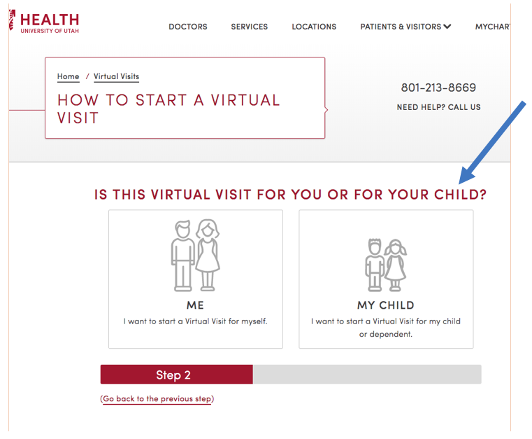 Screen grab from step 2 of 5 in the Virtual Visits process.
