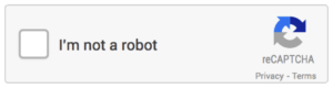 "Image shows a check box with the field label of ""I'm not a robot."" There is a refresh icon with links to privacy and terms."