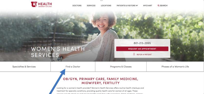 Screen grab from the homepage of Women's Health Services: healthcare.utah.edu/womenshealth/