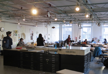 Design students working in a studio in the design school at Carnegie Mellon University.