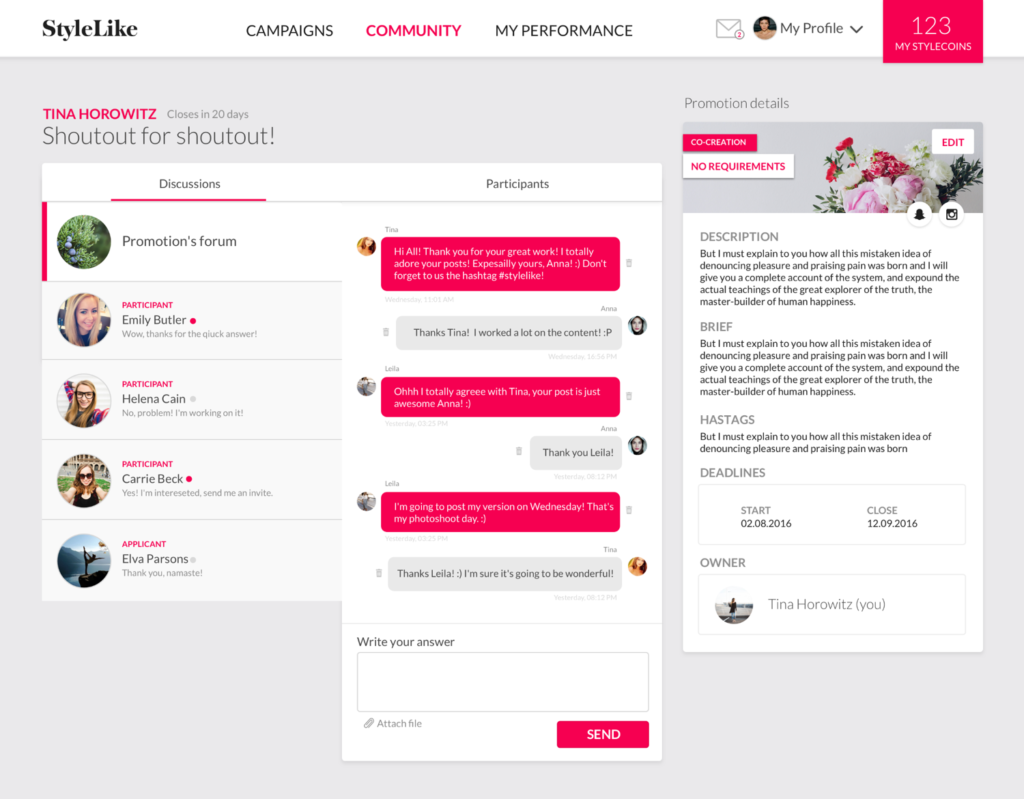 Screenshot of StylLike's app design with a chat discussion.