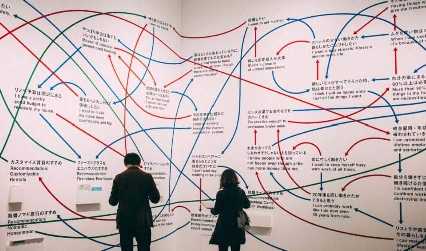 people viewing a complex systems diagram on walls
